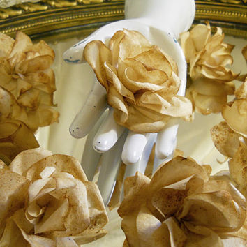 Set of 10, Rustic Coffee Filter Roses for weddings, bouquet making, wedding decor, scrapbooking, gifts, crafts