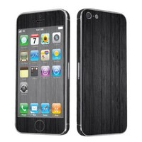 SkinGuardz Vinyl Decal Protective Sticker Skin for Apple iPhone 5 - (Black Wood)