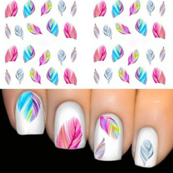 Nail Wraps Nail Art Nail Decals Water Transfers Pink Blue Feathers Salon Quality YD53