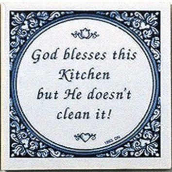 Inspirational Wall Plaque: God Blesses Kitchen..