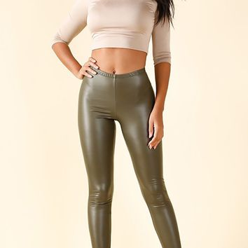 Ring The Bell Olive Green PU Faux Leather Skinny Leggings Pants