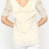 Bow Laced Off-White Top