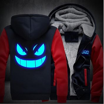 USA size Men Women Pokemon Pocket Monster Gengar Luminous Zipper Jacket Sweatshirts Thicken Hoodie Coat Clothing Casual
