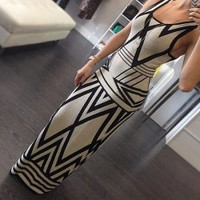 Wholesale Sexy Scoop Neck Sleeveless Printed Maxi Dress For Women (AS THE PICTURE,XL), Maxi Dresses - Rosewholesale.com