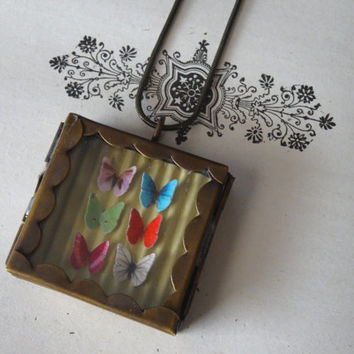 1- Butterfly Display Necklace Insect Specimen Shadow Box 6 Butterflies Under Glass OOAK Miniature Specimen Locket Finished Necklace Inv0127