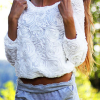 Floral Chiffon Pull-Over Blouse - White
