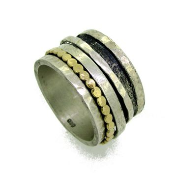 Silver and Gold Wide Spinner Ring
