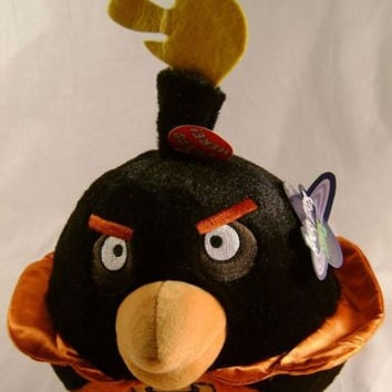 "Angry Bird Space Plush Bomb Black 8"" Sound Rovio Entertainment Doll Toy Licensed"