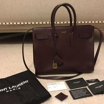 YVES SAINT LAURENT Sac De Jour Bordeaux Burgundy Leather Small Satchel Bag