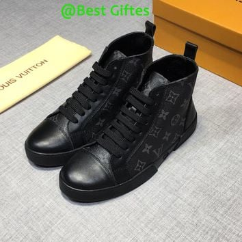 LV Louis Vuitton Men High Top Casual Boots Sneakers Sport Shoes Boots Fashion Best Quality BLACK