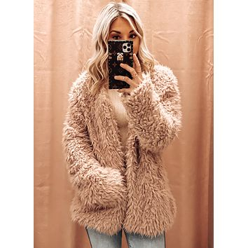 ONE IN A MILLION FAUX FUR COAT IN MAUVE
