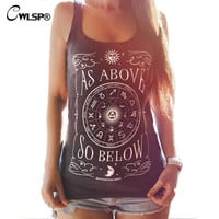New Fashion Women Tank Tops Summer Hot Sale Compass Print Slim Top Debardeur Femme Sexy Casual Tanks
