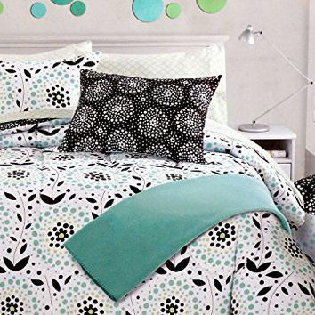 Cynthia Rowley Bedding 5PC Twin/Twin XL Duvet Cover & Sheet Set Aqua Green an...