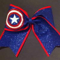 3in. Glitter Captain America Superhero Cheer Bow