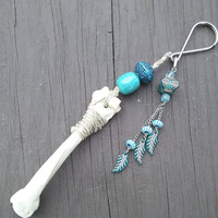 Bone Key Chain, Tribal Key Chain,Taxidermy Keychain, Boho Lanyard, Tribal Lanyard,Teal Turquoise Keychain, Gypsy Key chain, Shaman Jewelry