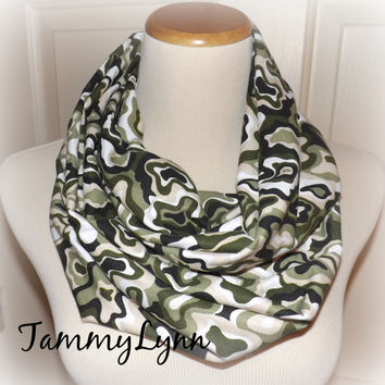 NEW!! Ready to Ship Multi Green Camo Scarf Camouflage Fashion Infinity Scarf Hunting Duck Dynasty Women's Accessories