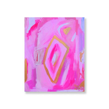 'Open Windows in Pink Swirl' Acrylic on Canvas Painting