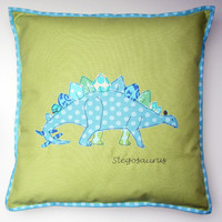 Stegosaurus dinosaur embroidered applique cushion pillow cover