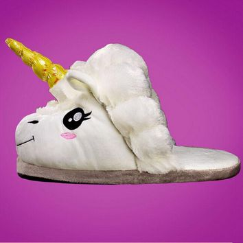 Free Shipping Plush Shoes 1Pair Plush Unicorn Slippers for Grown Ups Winter Warm Indoo