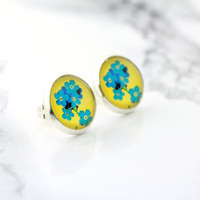 fake plugs, floral print stud earrings, yellow and teal blue, bohemian