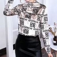 GIVENCHY Autumn Winter Fashionable Women Comfortable Long Sleeve Pleuche Sweater Pullover Top Golden