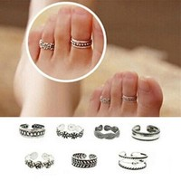 deals] Chic Fashion Women Antique Foot Beach Silver Metal Adjustable Toe Ring New [7862339719]