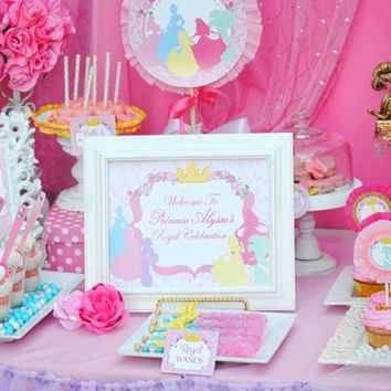 PRINCESS Party - Printables Sign / All Disney Princess Collection - Girls Birthday - Ladies - Woman - Bridal Shower - INSTANT Download