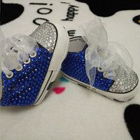 Baby Bling Blue Newborn Infant Baby Girl High Top Tennis Shoes Booties