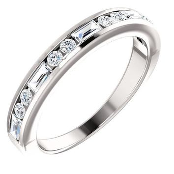 Juliette Straight Baguette and Round Diamond 1/2 Eternity Channel Wedding & Anniversary Band