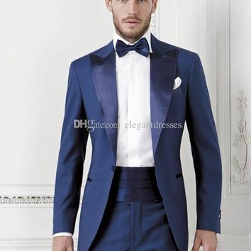 Bright Blue One Button Groom suits for Wedding 2017The Best Man Suits For mens S