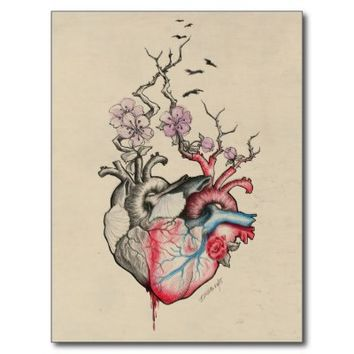 Love art merged anatomical hearts with flowers postcards