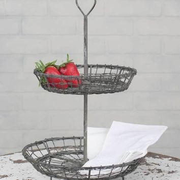 Vintage Country Style Wire Heart Two Tier Serving Stand Display Tray Baskets