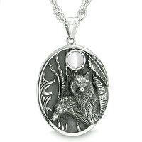 Mother and Son Wolf Family Amulet Moon Wild Woods White Cats Eye Pendant 22 Inch Necklace