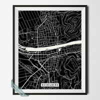 Heidelberg Street Map Print, Germany Poster, Heidelberg Poster, Germany Print, Germany Map, Home Decoration, Wall Decor, Back To School