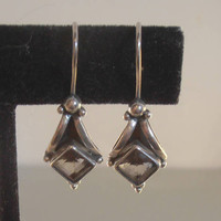 Sterling Smoky Topaz Earrings, French Hook Drops, Open Bezel Set