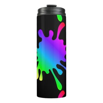 Thermal Tumbler Funny Rainbow Paint Splatters