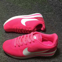 """NIKE"" Women Casual Running Sport Shoes Sneakers knit rose red white hook"