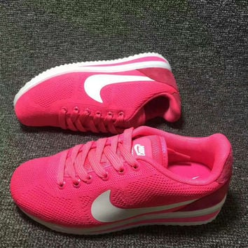"""""""NIKE"""" Women Casual Running Sport Shoes Sneakers knit rose red white hook"""