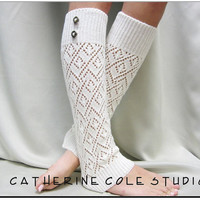lace leg warmers ivory knit womens diamond knit  great with cowboy combat tall boots by Catherine Cole Studio legwarmers open work