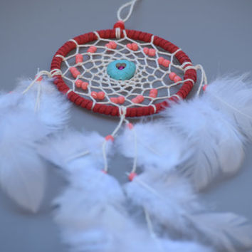 Dreamcatcher for women, Small Dreamcatcher, Turquoise heart, Car Mirror Charm, Rear View Mirror, Red and White Dreamcatcher,