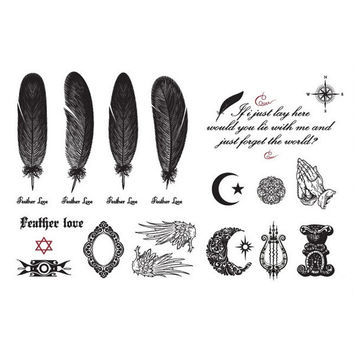 Many Designs Feathers Wings Mirror Temporary Waterproof Body Tattoo Stickers = 1706194756
