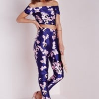 Missguided - Peonie Print Cigarette Trousers Navy