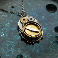 Clockwork Pendant Navigator Recycled Mechanical by amechanicalmind