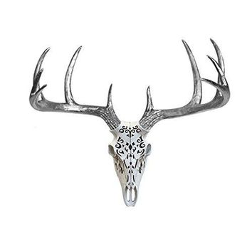 Large Carved Deer Head Skull | Faux Taxidermy | White + Silver Antlers Resin