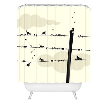 Belle13 Cats And Birds On Wires Shower Curtain