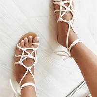 Cream Knot Slides - Shoes by Sabo Skirt