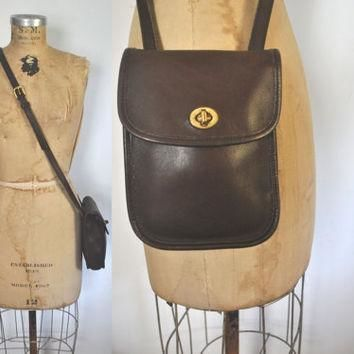 Coach Bag / Brown leather Purse / Crossover Satchel