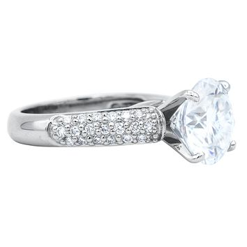 10mm Round Moissanite Platinum Triple Diamond Channel Cathedral Engagement Ring 4.40 Carat Total Weight