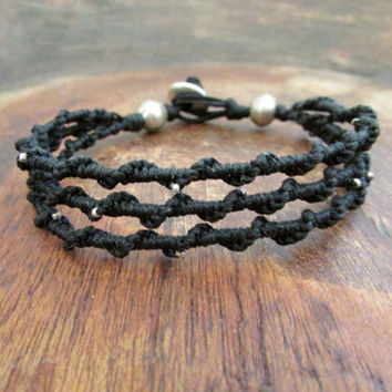 Black Bohemian Bracelet, African Beadwork Macrame Triple Wristlet, Men Women Teens Jewelry