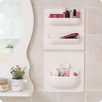 1 Pcs 22*22cm Bathroom Accessories Wall Stick Type Bathroom Cup Toothbrush Set Shelf Rack for Shampoo Bath foam.